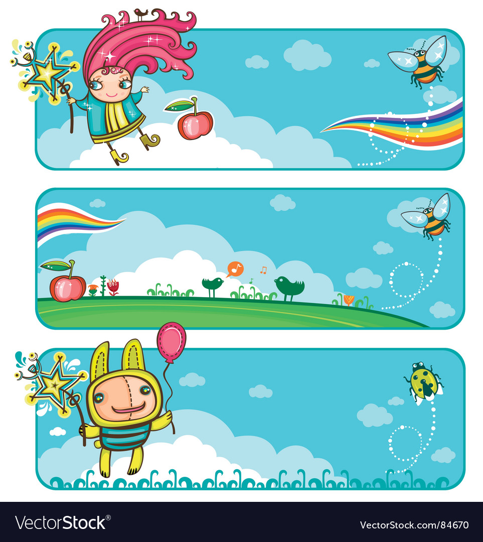 Fairy sunny banners for kids vector