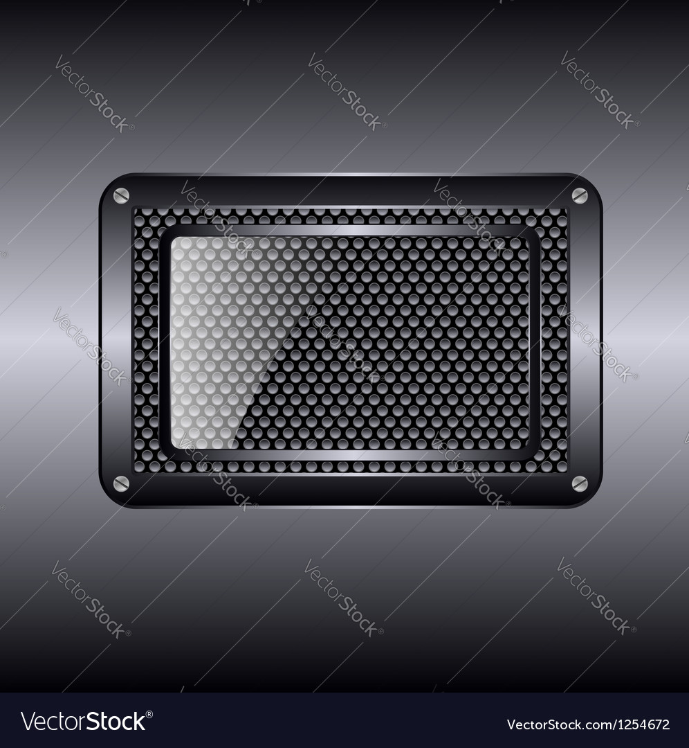 Metal background with glass frame vector