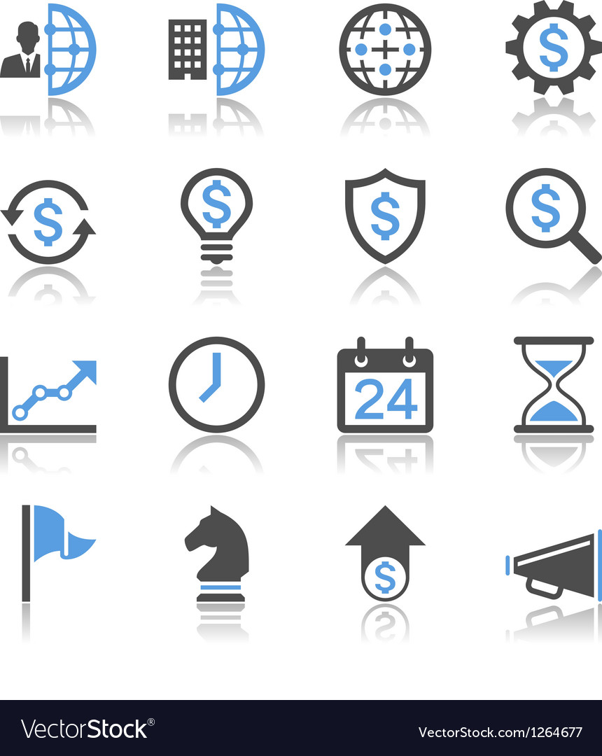 Business and management icons reflection vector