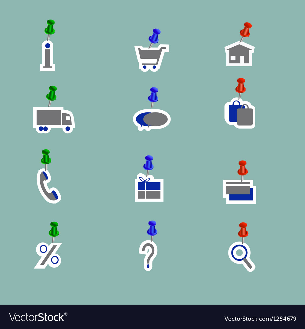 Online shoping icons collage pins vector