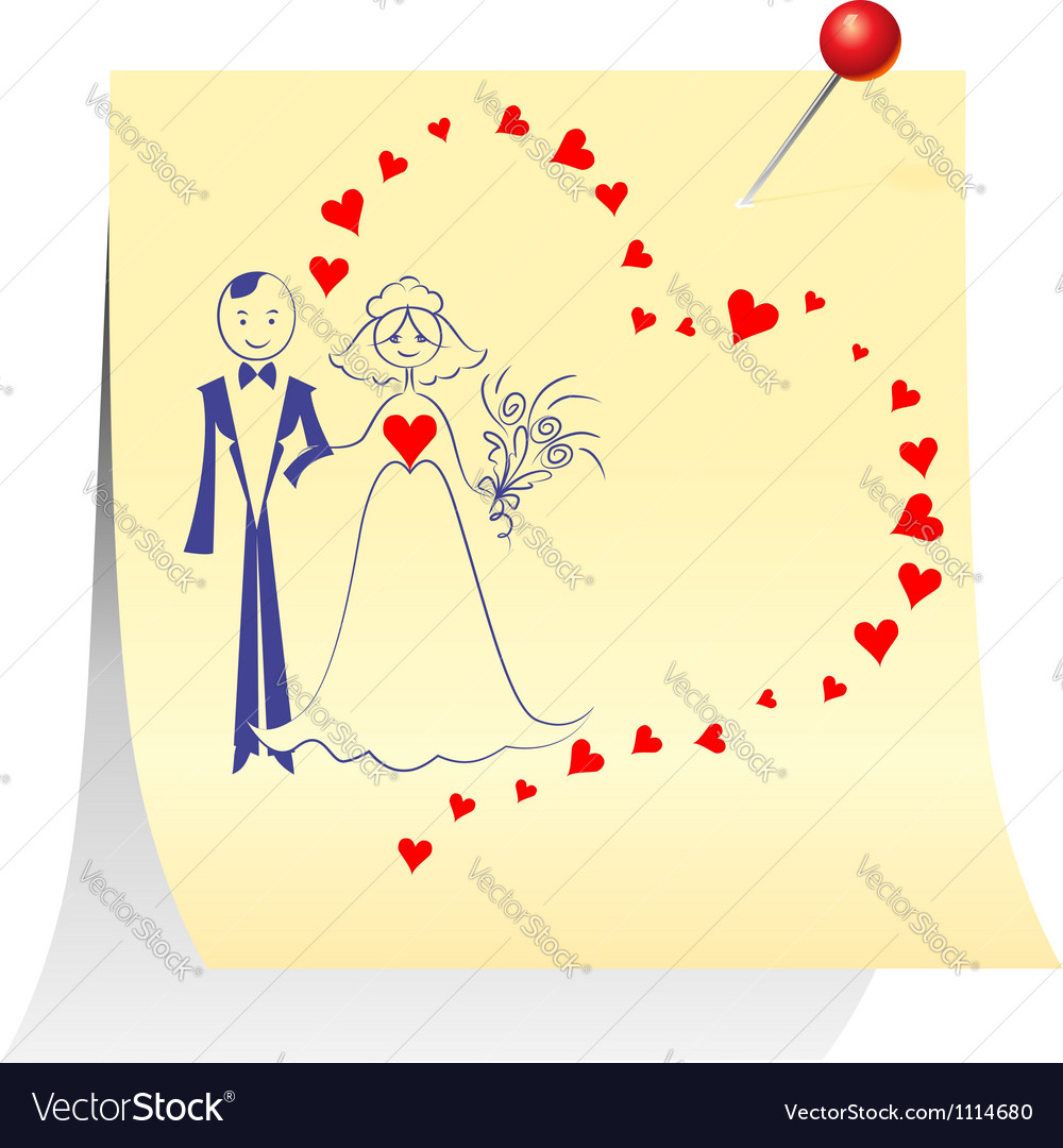 Bride and groom on a sheet pinned clerical pin vector