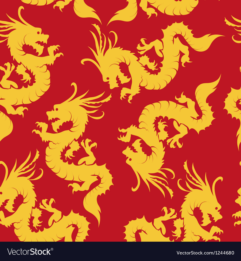 Dragons pattern chinese motifs vector