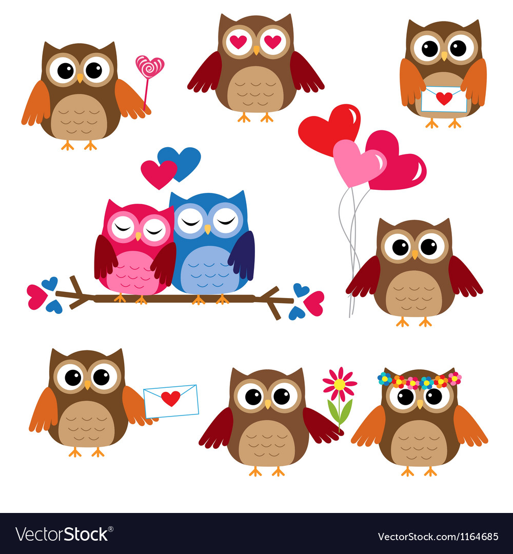 Cute owls vector