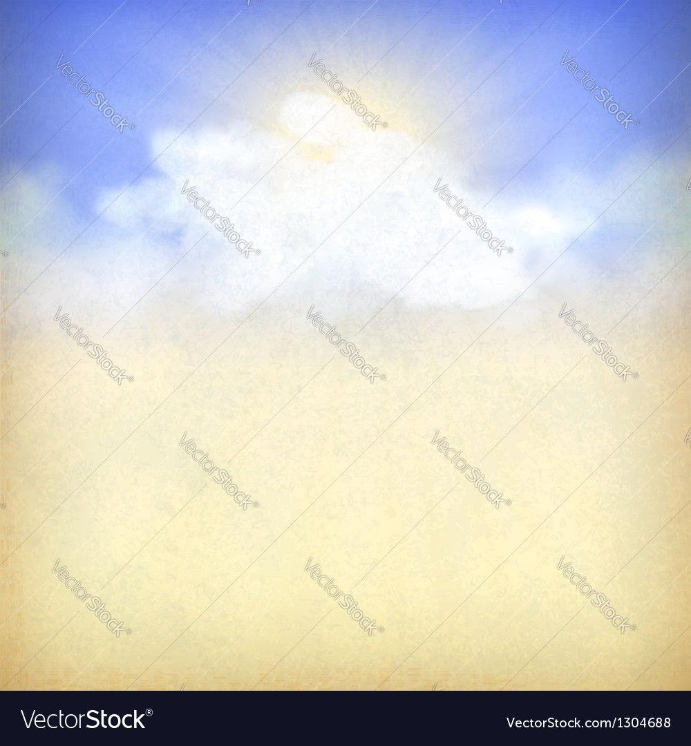 Blue sky background with white clouds and sun vector