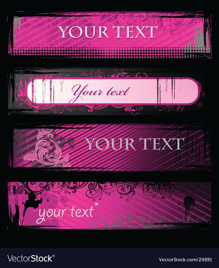 Set of pink grunge banners vector