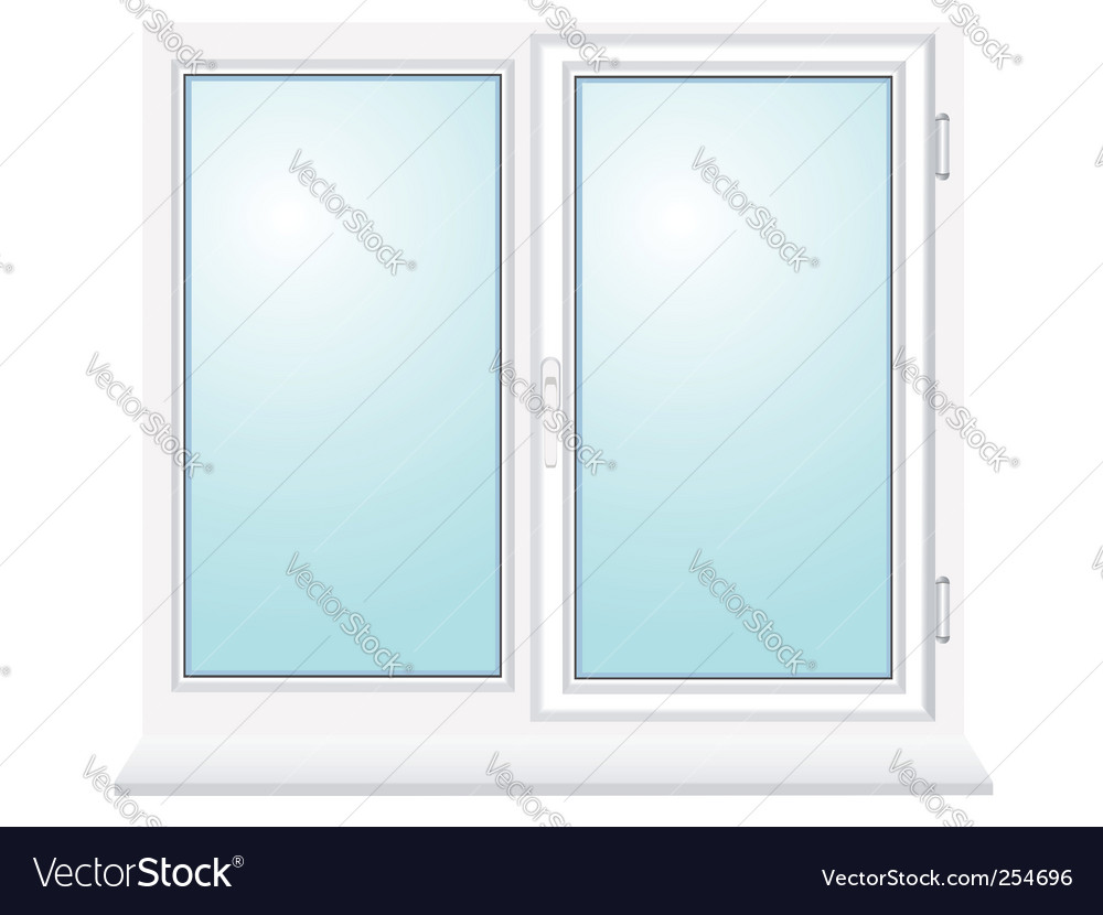Closed plastic glass window vector