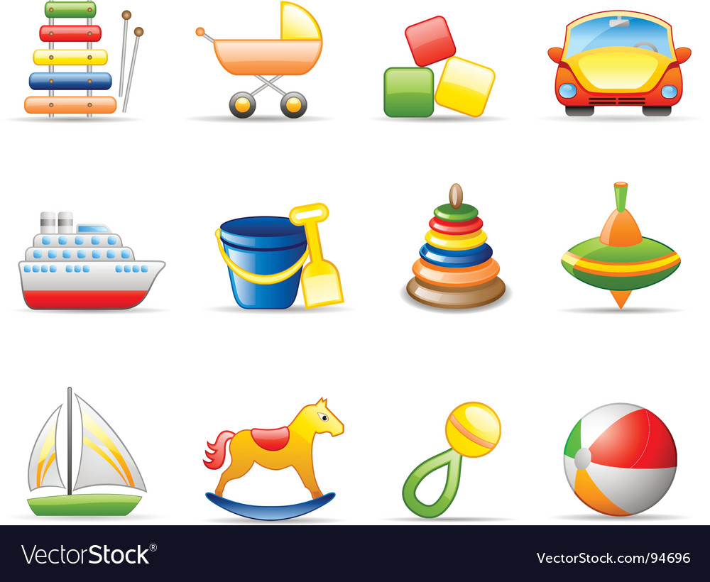 Toys icon set vector