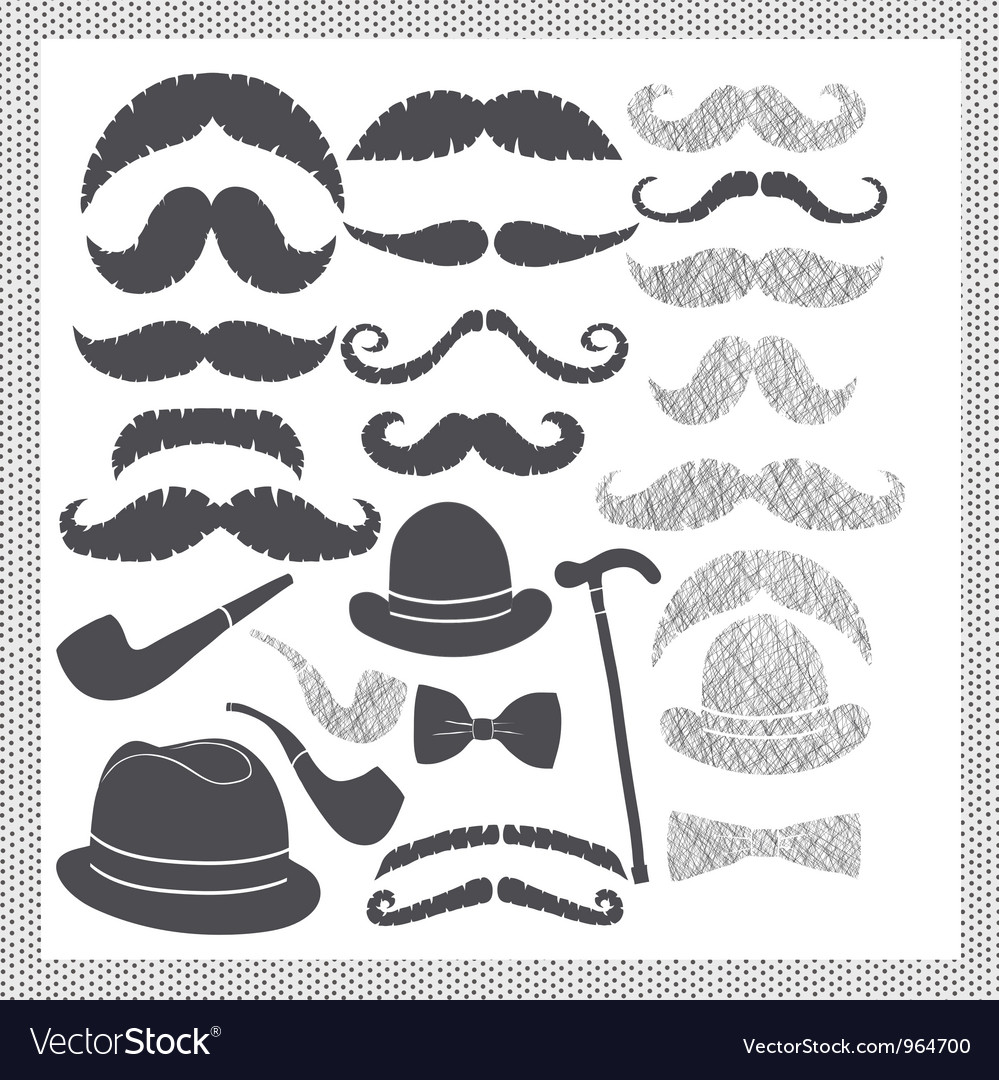 Vintage set with mustaches hats and pipes vector