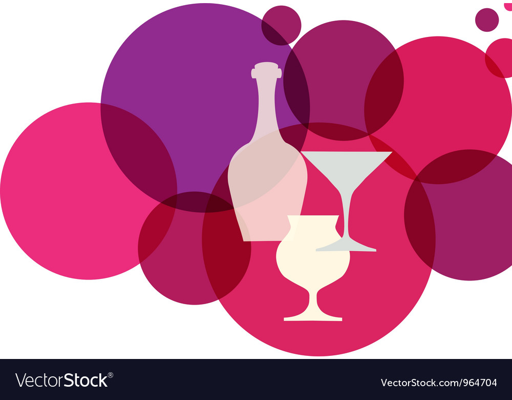 Wine bottle with glasses on retro background vector