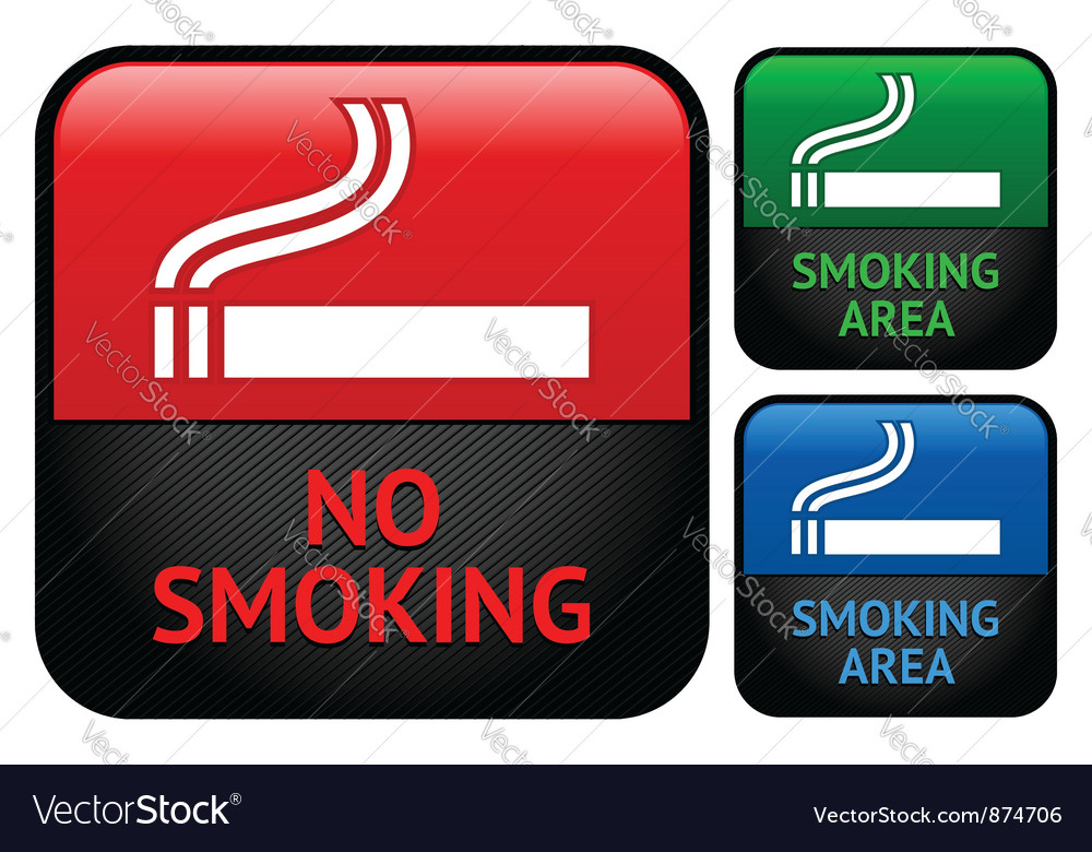 Labels set  no smoking area stickers vector