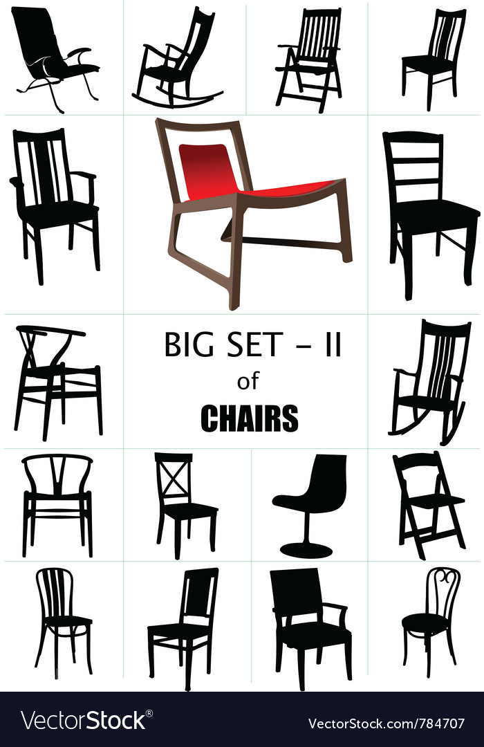 Designer chair set vector