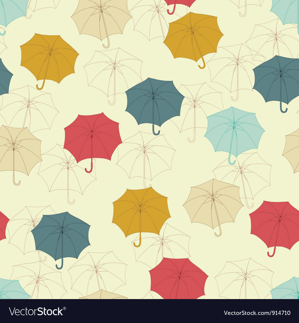 Seamless pattern with cute umbrellas vector