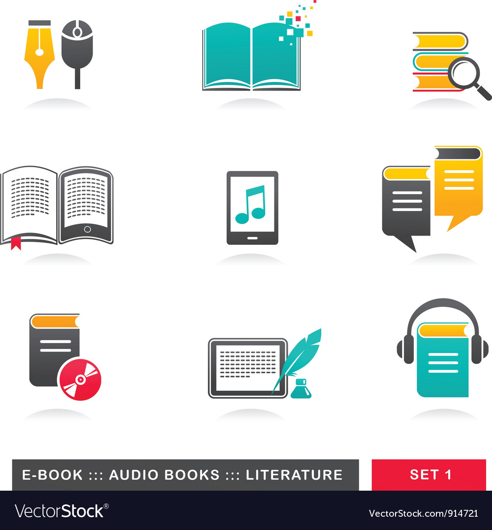 Collection of ebook audiobook and literature vector