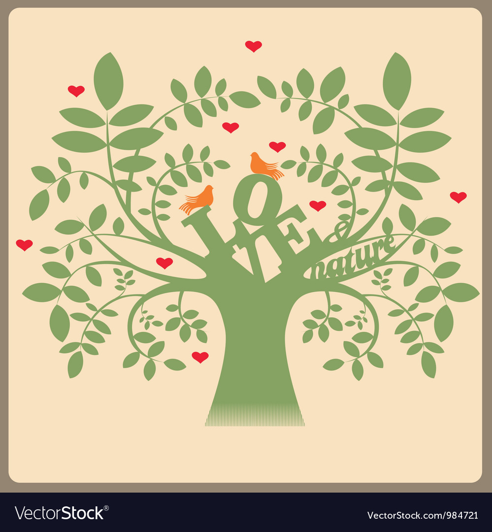 Green tree with love message and doves vector