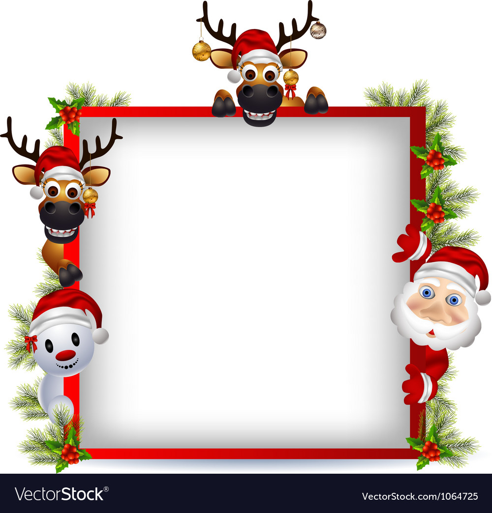 Santa Borders santa claus deer and snowman with blank sign vector by ...