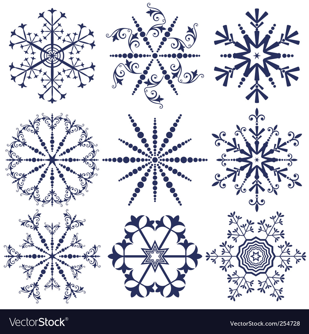 Set dark blue snowflakes vector