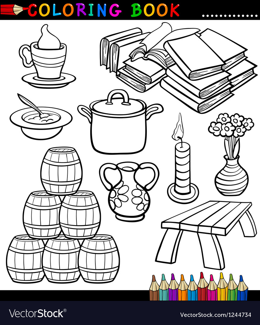 Cartoon different objects coloring page vector