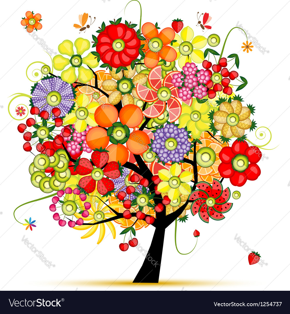 Art floral tree flowers made from fruits vector