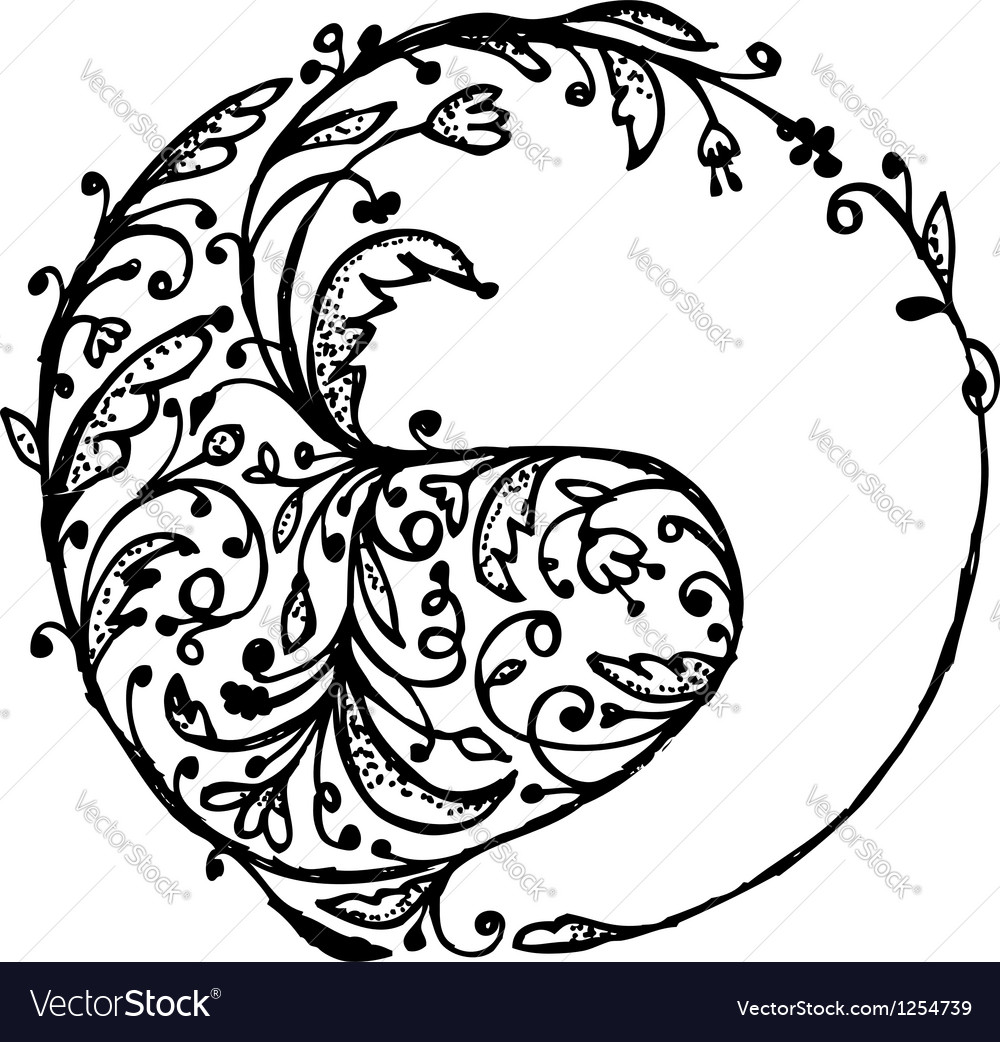 Yin yang sign sketch for your design vector