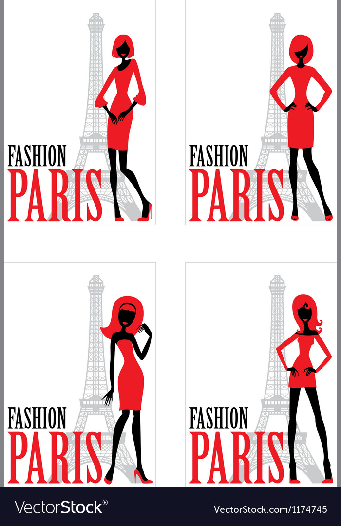 Card with silhouette of woman and eiffel tower vector