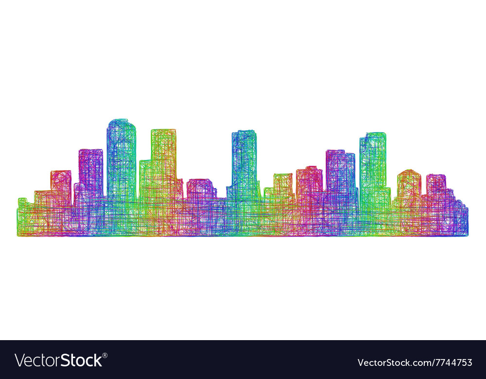 denver skyline silhouette multicolor line art free vector by exclusive-free