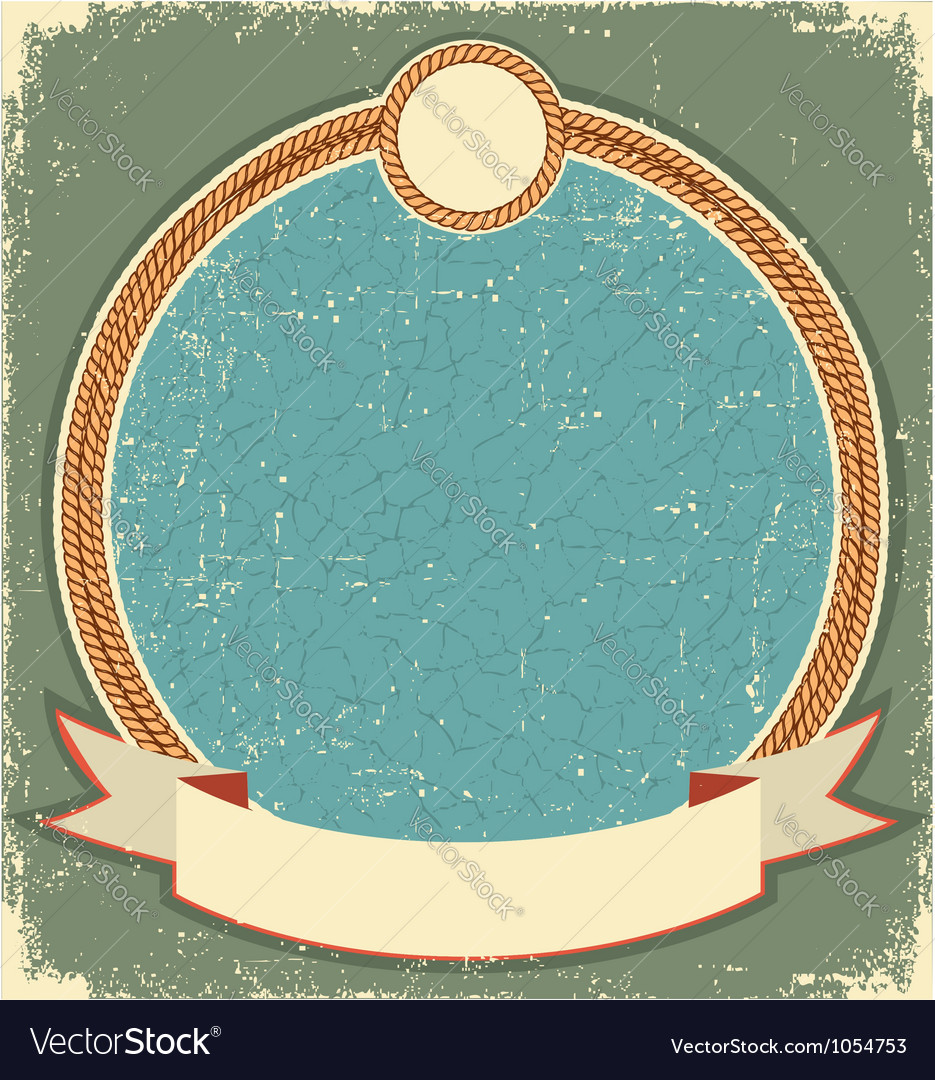 Vintage label for text with rope frame vector