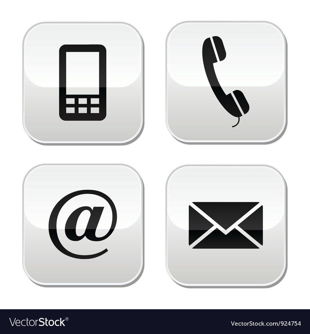 Contact buttons set  email mobile phone vector