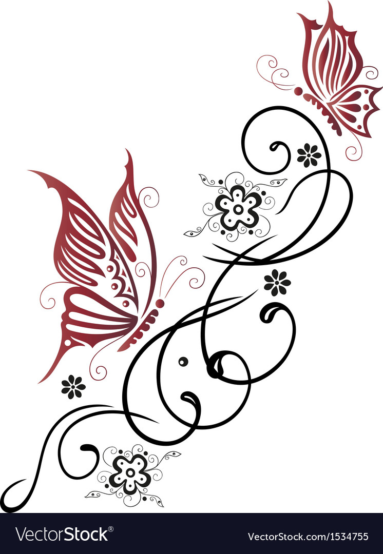Tribal Flower Butterfly Tattoo Style Vector By Christine krahl Image