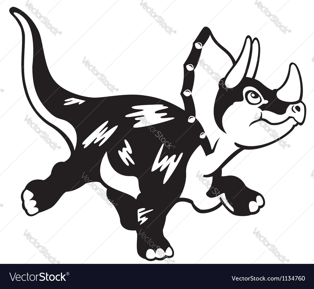 Cartoon triceratops black white vector