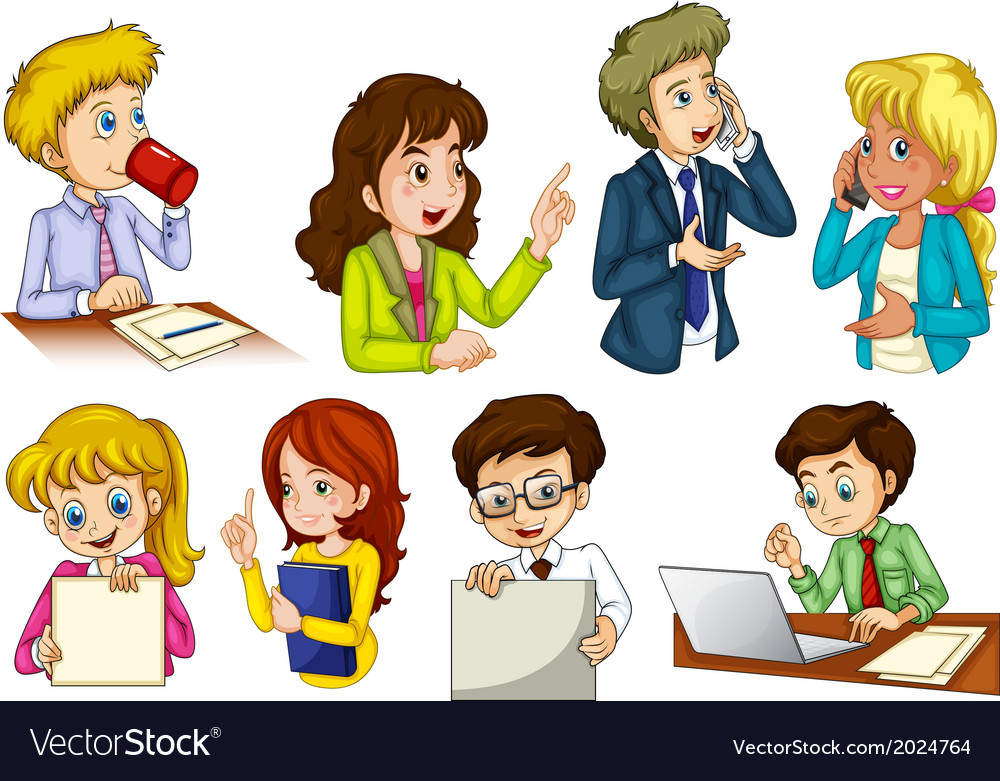 Different people working in an office vector