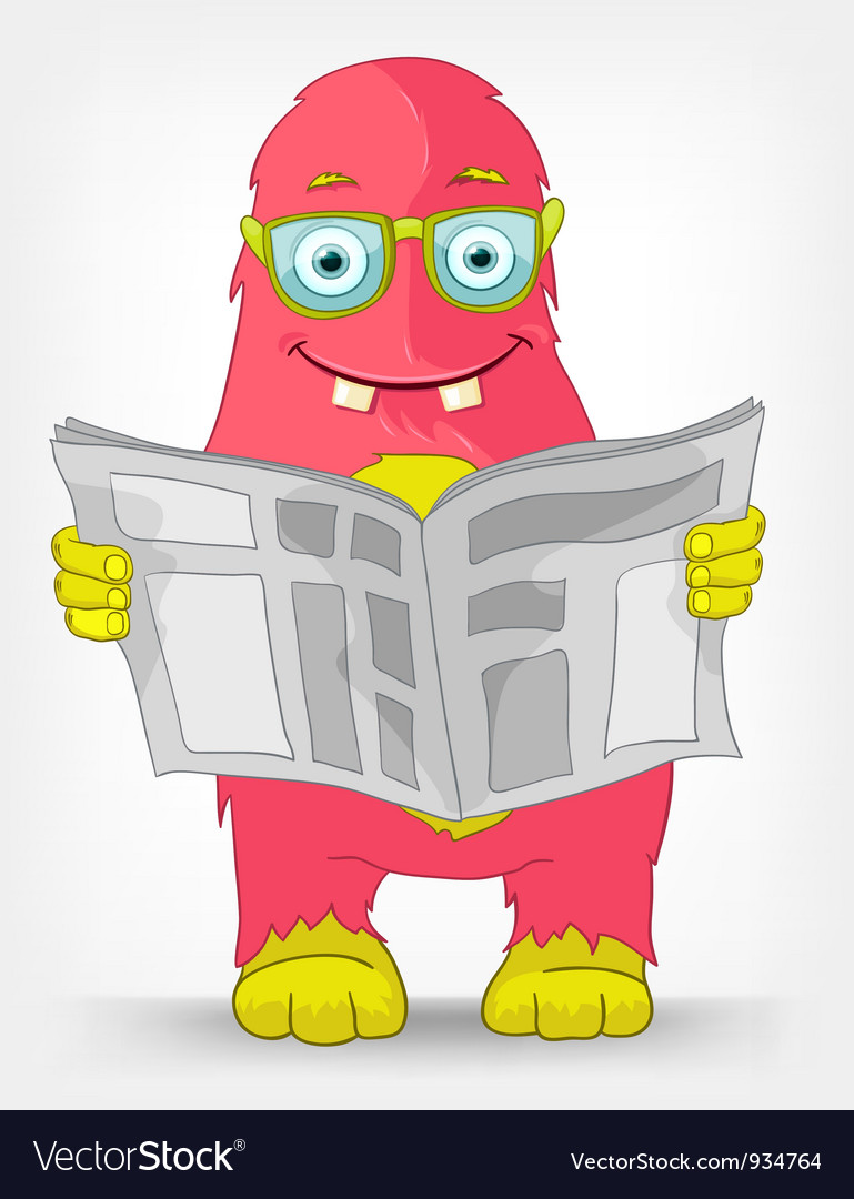 Funny monster news vector
