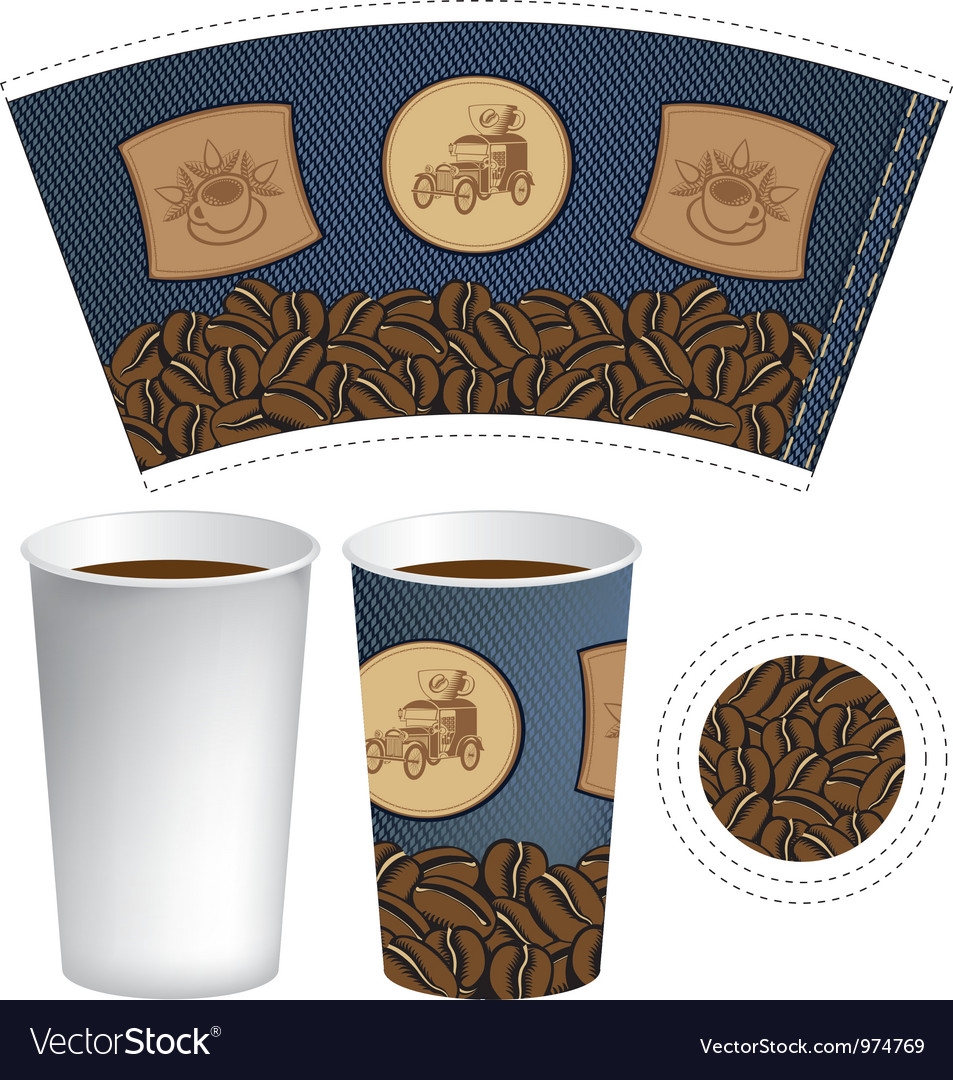 Pattern cup of coffee vector