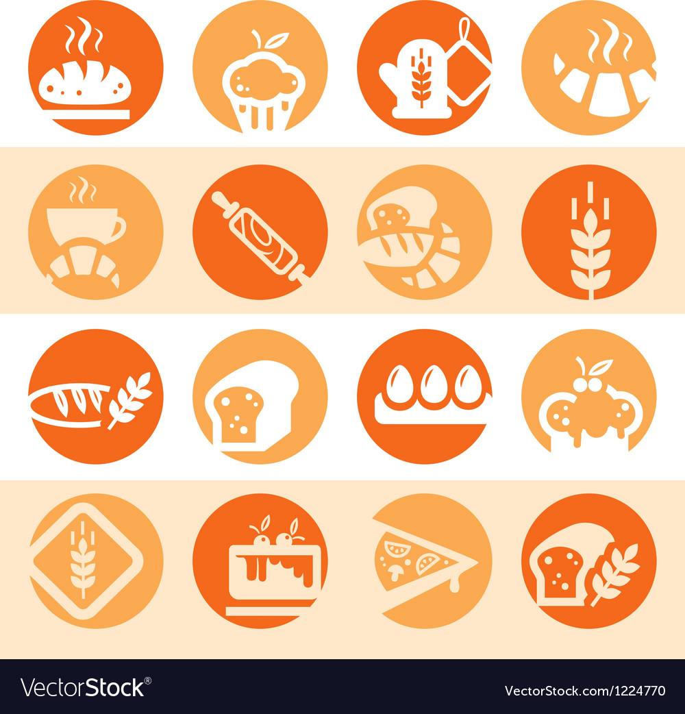 Color bakery icons vector