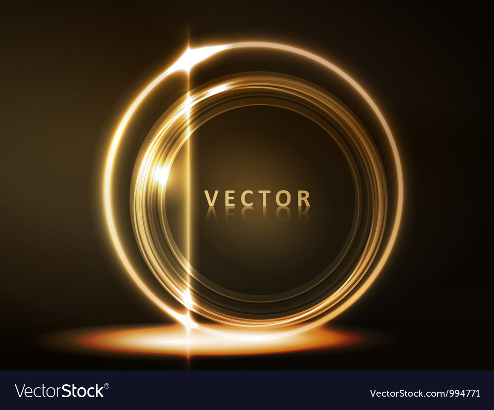 Golden glowing round frame vector