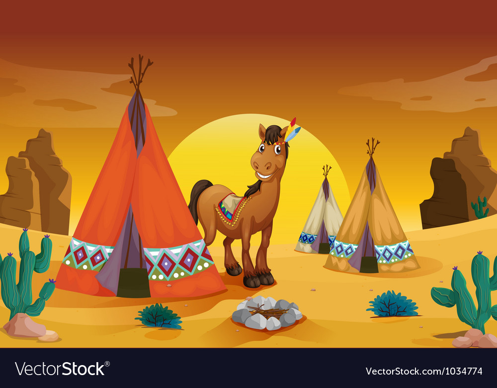 Horse and tent house vector