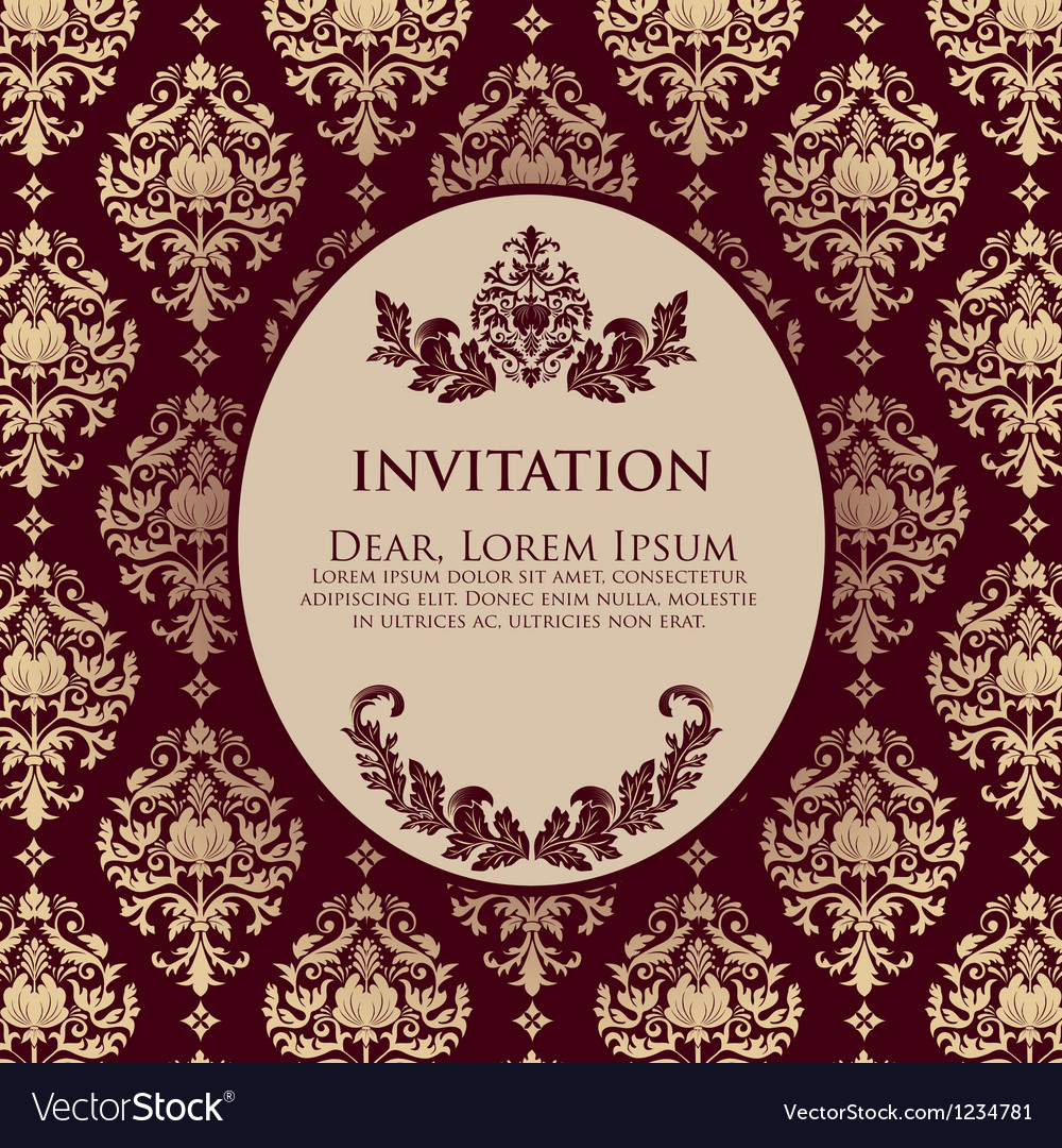 Damask filigree invitation card vector