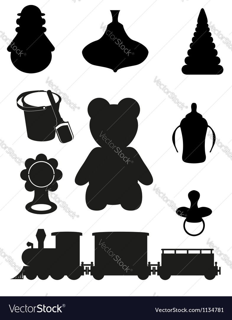 Icon of toys and accessories black silhouette vector