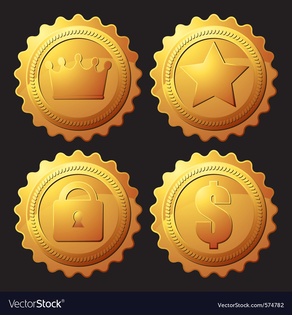 Set of gold medallion vector
