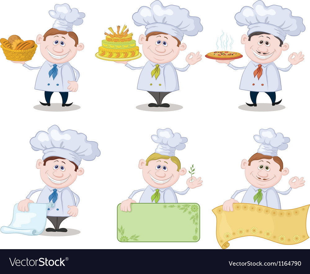 Set of cartoon cooks chefs vector