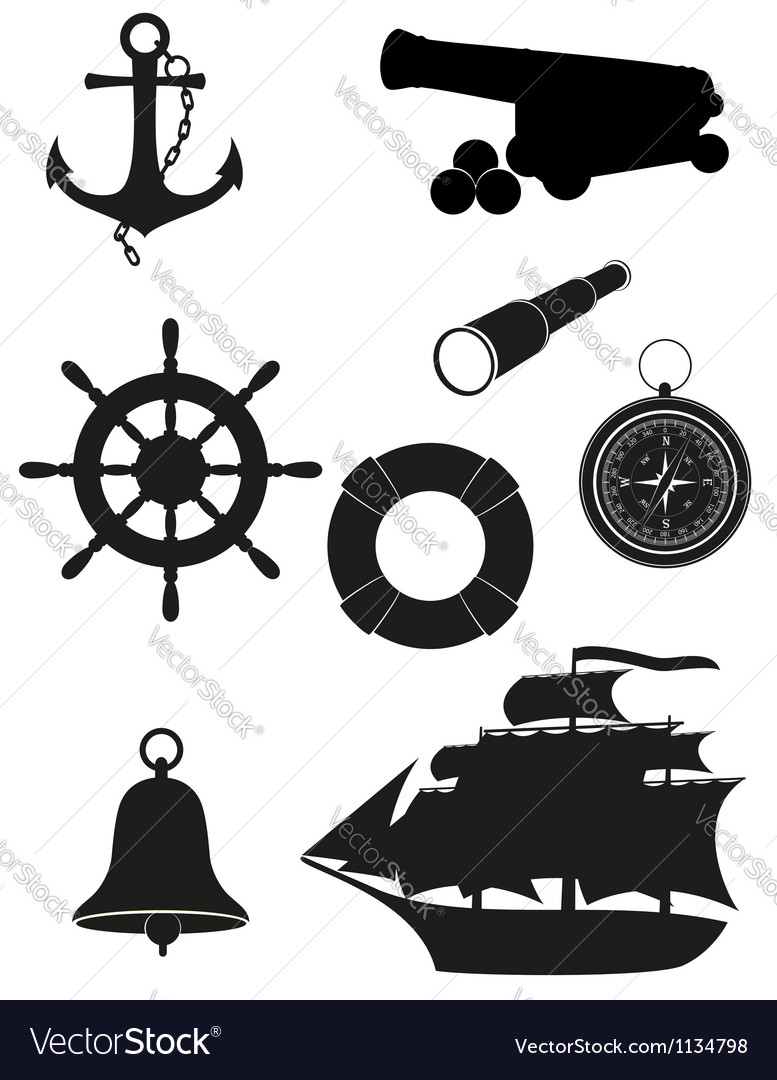Travel set of sea antique icons black silhouette vector