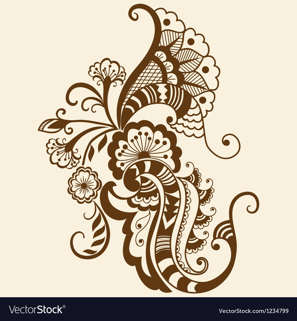 Ethnic mehndi floral vector
