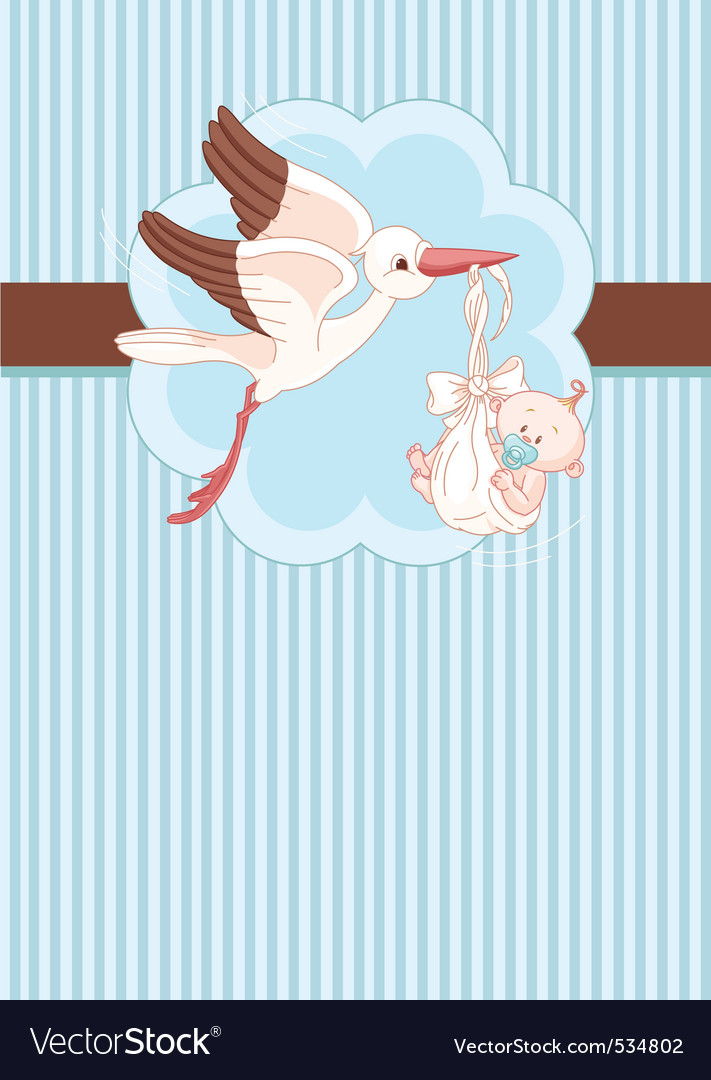 A place card of a stork delivering a newborn baby vector