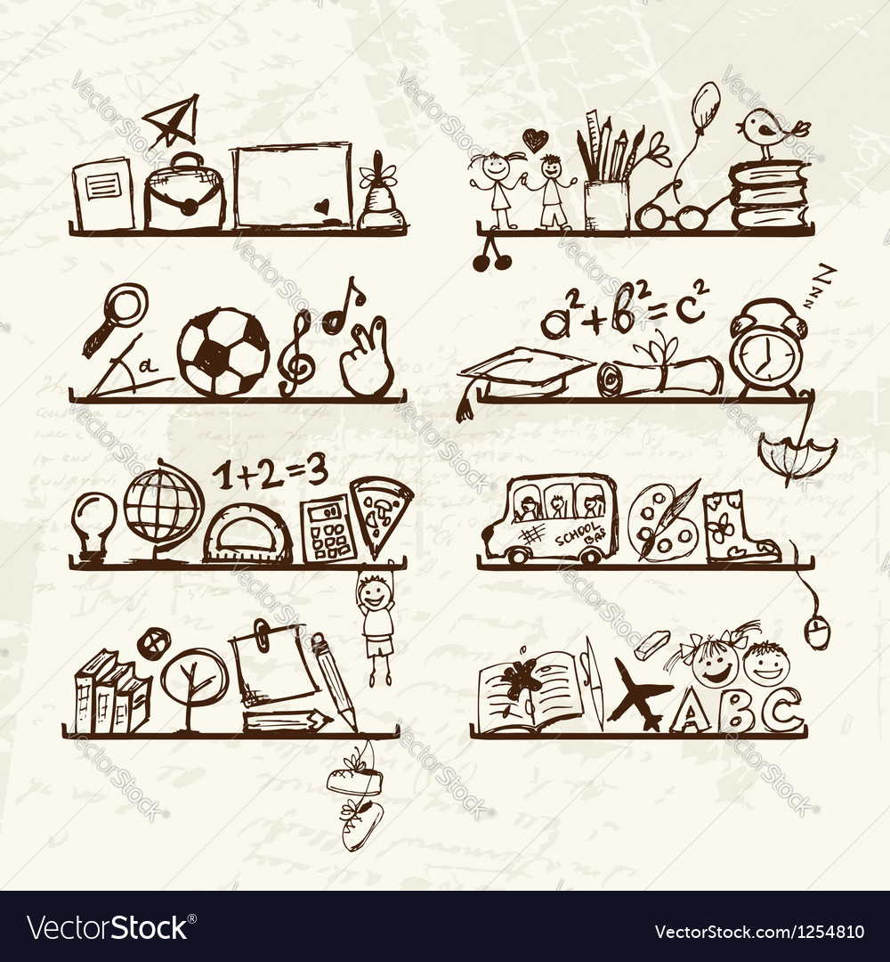 Objects for school on shelves sketch drawing for vector
