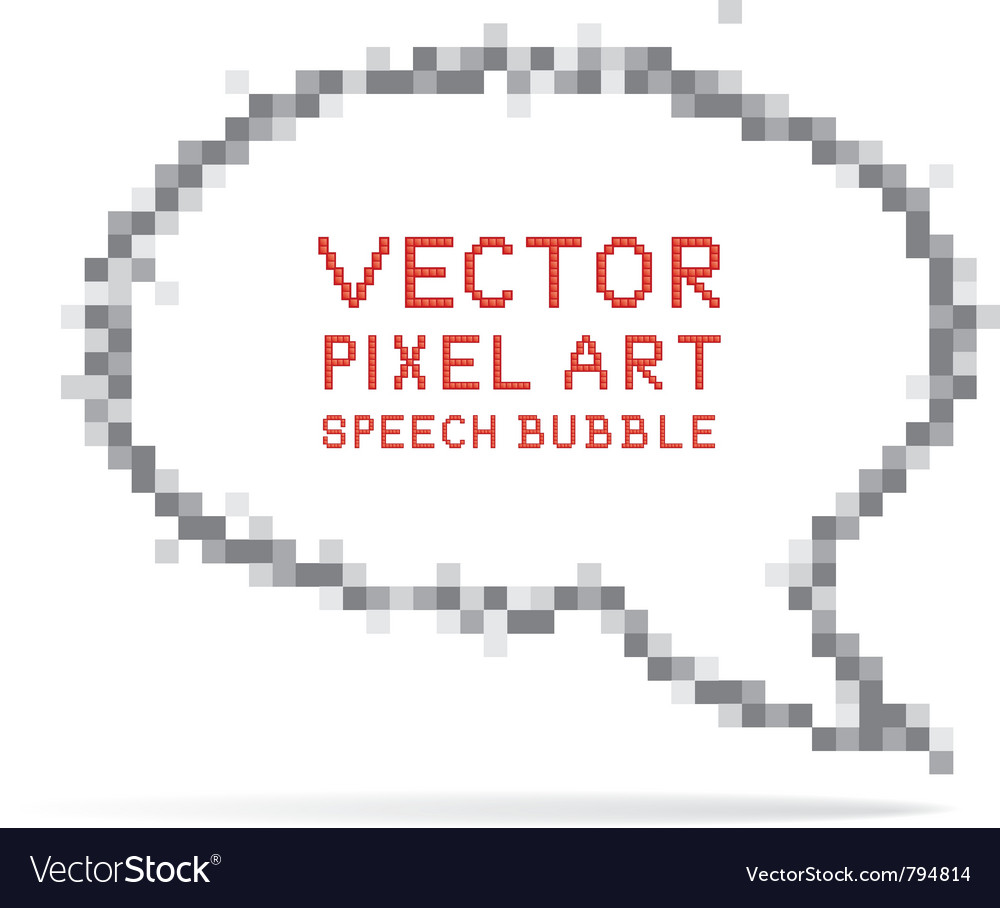 Round speech bubble in pixel art style vector