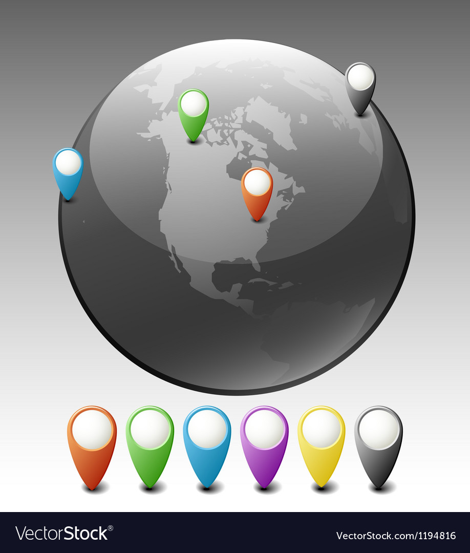 Globe with pointers vector