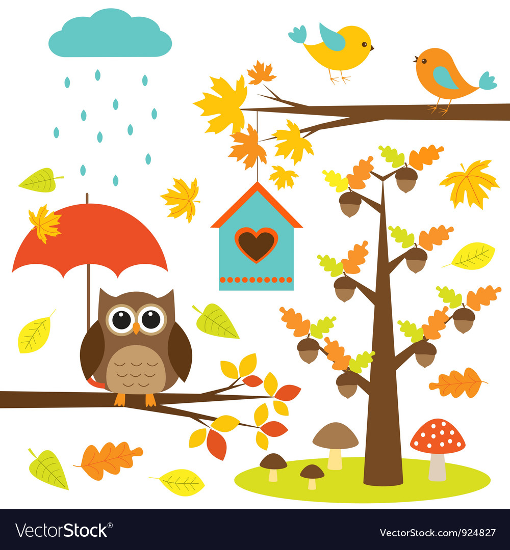 Birdstrees and owl vector