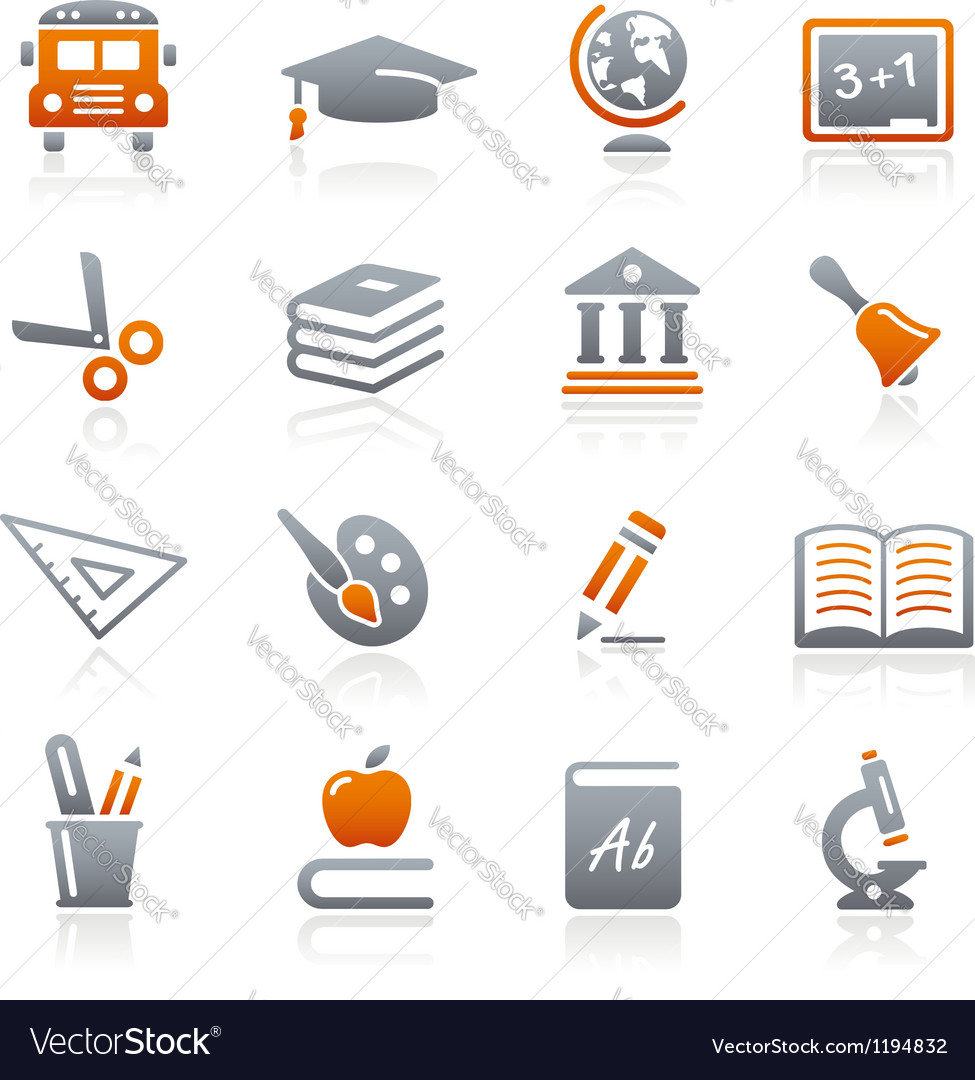 Education icons graphite series vector
