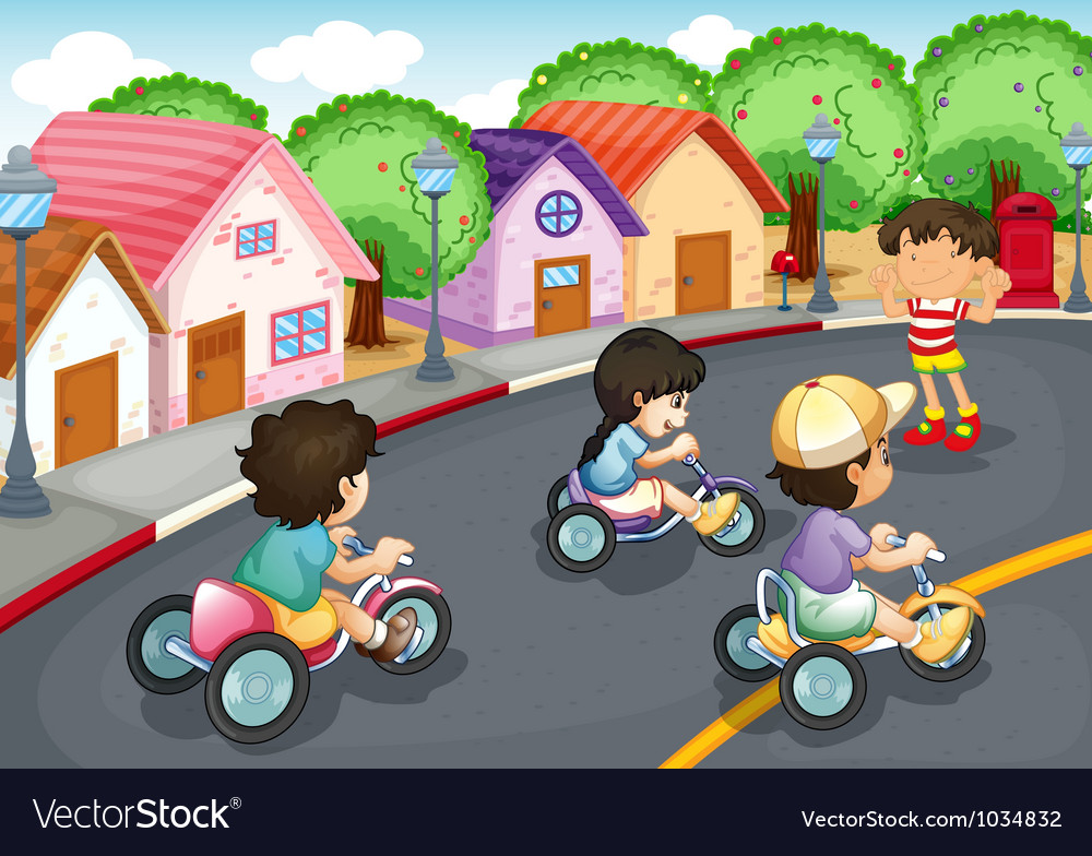 Kids playing on the road vector