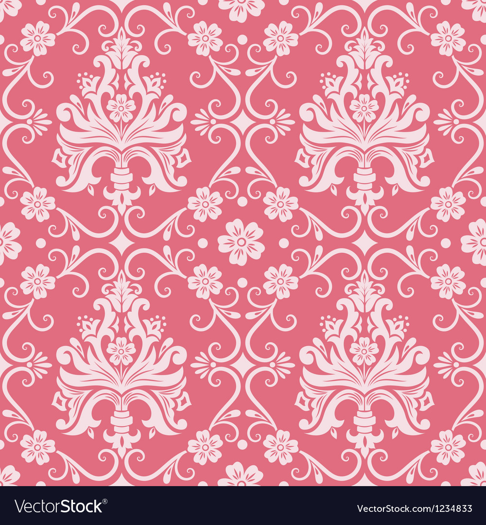 Floral damask pattern vector