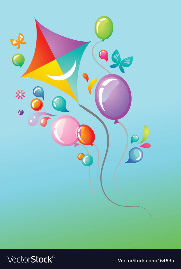 Colorful balloons and a kite vector